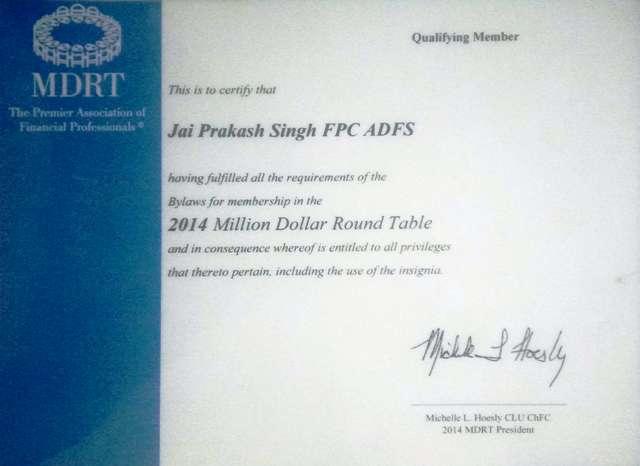 LIC MDRT 2015 Certificate