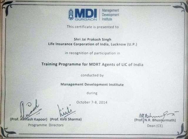 LIC Management Training Certificate